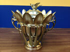 Antique Quadruple Solid Nickel Silver Plate WR Spoon Holder With All Spoons