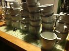 Vintage Shenango China Coffee Tea Mugs Diner Style 24 White Green Stripe: Mint!