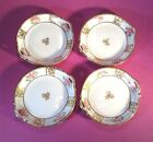 NIPPON Noritake (4) Butter Pat Dishes, Hand Painted W/ Gold Beading - Pristine!