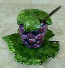 DECORATIVE GRAPE BUNCH JAM JELLY LEAF LIDDED JAR W/LID DISH AND SPOON