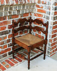 Antique French Country Oak Petite Ladder Back Corner Chair Rush Seat