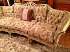 Fabulous Vintage French Provincial Sofa Gorgeous Fabric Carved Wood Frame