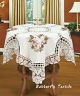 white hand crochet cotton floral lace tablecloth ribbon embroidery SQ. 36*36