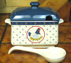 JC PENNEY COUNTRY HEN CHICKEN GRAVY SOUP TUREEN BOWL LADLE & 4 BURNER COVERS