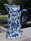 1LFT Delft Style Blue White Pitcher VASE WALL POCKET Planter GOLD PLATE TRIM NEW