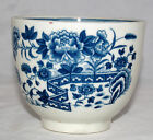 ANTIQUE  18th CENTURY BLUE AND WHITE PEARLWARE SUGAR BOWL CAUGHLEY OR WORCESTER