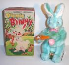 MIB 1950's BATTERY OPERATED PICNIC BUNNY TIN LITHO EASTER TOY JAPAN ALPS MINT