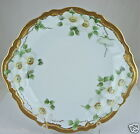 ANTIQUE CAKE PLATE/ CHARGER,HEAVY GOLD RIMS,DOGWOOD FLOWERS GREEN LEAVES
