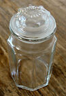 Anchor Hocking Octagon Shaped 8-Sided Glass Apothecary Jar Canister w/Lid