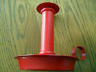 DANISH~ RED PAINTED METAL*TALL FINGER CANDLESTICK*chamber candle~MURMANN~DENMARK