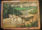 OLD VINTAGE RADHA KRISHNA SITTING IN HORSE CART BEAUTIFUL WATERCOLOR PAINTING