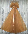 Vtg Brown Sheer Chiffon Dble Layer Vanity Fair Ruffle Nightgown Gown Negligee 36