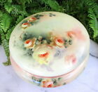 LOVELY LARGE DATED 1909 ANTIQUE LIMOGES POWDER BOX W/ HAND PAINTED PEACH ROSES