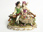 Rare Muller Volkstedt MV Germany Figurine Two Women On Bench Porcelain Lace