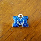 NCAA MICHIGAN WOLVERINES SILVER BLUE GLITTER LOGO CHARM bead bracelet jewelry