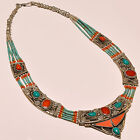 WONDERFUL TURQUOISE WITH RED CORAL BEAUTIFUL .925 SILVER NECKLACE