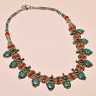 BEAUTIFUL TURQUOISE WITH RED CORAL AMAZING .925 SILVER NECKLACE ANP- 2200