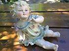 Antique German Heubach Bisque Porcelain Piano Baby Girl & Butterfly RARE NR!