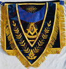 CUSTOM HAND EMBROIDER MASONIC PAST MASTER APRON AND COLLAR SET BLUE - PM-ACLS-01