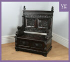Antique English Victorian Oak Carved Box Settle Hall Monks Bench Pew Seat Chair
