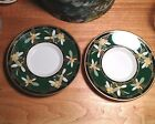 Narumi Bone China Saucers,Green,Gold Trim,Leaves,Fruit,Pair,Replacement,Apricots