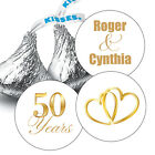 108 Golden 50th Wedding Anniversary Personalized Hershey Kiss Stickers Favors