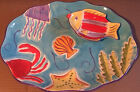 Coral Reef  Hand Painted  Chip And Dip Serving Platter