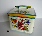 NEW Deruta Itlalian Pottery BISCOTTI COOKIE JAR Square Covered Majolica Canister