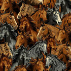 Packed Horses Running Stallion Steed Fleece Fabric Print by the Yard A23303