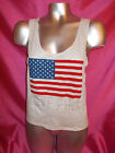 VICTORIAS SECRET PINK BLING RED WHITE BLUE FLAG JULY 4 CROP MUSCLE TANK SM