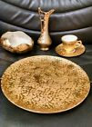 Weeping Bright Gold 5 Piece Set, Plate, Pitcher, Candy Dish, Cup