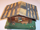 vintage Swiss made Befag wooden log cabin chalet music box Arrivederci Roma nice
