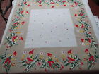 vtg xmas 32 x 34 card table cloth sweden swedish nome tomte elf holly candle