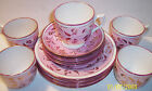 antique english staffordshire pink & copper luster 15 piece set plates cups nice