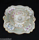 Antique 1860s Spode Trio Teacup Set Hand Painted Floral Lunch Plate Setting