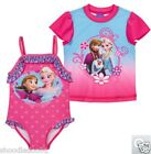 NWT Disney Frozen 2 pc Swim Set: Bathing suit & Rash guard SPF 50 Any Size Girls