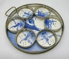 Germany Vintage Delft Blue Porcelain Tray w/ (6) Coasters, Windmills, Sailboats