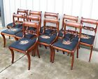 RARE 10 MAHOGANY EMPIRE DUNCAN PHYFE CARVED NEEDLEPOINT SEAT DINING ROOM CHAIRS