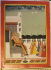 VINTAGE RAJASTHAN SCHOOL MAHARAJAHA ENJOING DANCE & MUSIC MINIATURE PAINTING IND