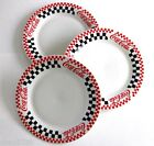 SET/3 1999 COCA-COLA BY GIBSON SOUVENIR DINNER PLATE- BLK, RED & WHITE CHECKERED