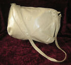 Vintage 1990's New Large Beige Vinyl Shoulder Bag Purse Tote Long Strap Zip