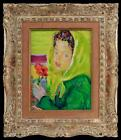 Listed LUIGI CORBELLINI IMPRESSIONIST Portrait of a Girl with flowers Painting