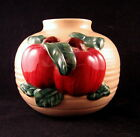Ceramic Pottery Bean Pot Hand Thrown, Applied Apple Bah Relief Decoration