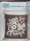 CM Erica Wilson Crewel White On Brown Bold 7163 Bouquet 1980 16x16 Pillow Pic.2