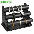 Ollieroo 3 Tier PU Jewelry Bracelet Watch Show Case Display Rack Holder Stand