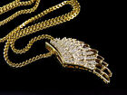 Solid 10k Yellow Gold Wing Diamond 175 Pendant with 24 Franco Chain 102ct