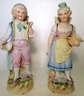 Pair Matched German Bisque Figurines in the manner of Heubach w baskets 10.5-11