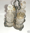 Antique Victorian Silver Plate Miniature Cruet Set - Glass Stoppers - No Reserve
