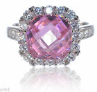 Beautiful Pink Princess Cut and White Sapphire Genuine Sterling Silver Ring