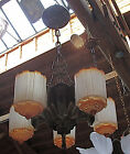 ART DECO CHANDILIER 5 SLIP SHADE CASTLE SHAPE 1930's ORIGINAL, REWIRED